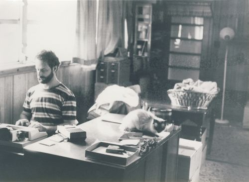 Jim transcribing the session with a typewriter