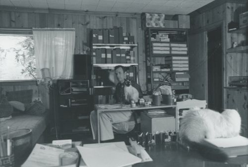 Don in the L/L office with cats