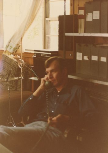 Don Elkins on the telephone